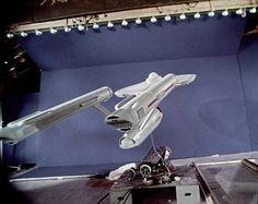 Studio model Enterprise being filmed on blue screen for original Star Trek series in 1965