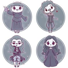 Alll the Hogwarts House Ghosts for Halloween! Maybe I'll draw Peeves at some point as I keep getting requests though I'm pretty sure he's technically not a ghost (as he was never a living person) ✨ • #ghost #hogwartsghosts #nearlyheadlessnick #fatfriar #bloodybaron #greylady #helenaravenclaw #gryffindor #hufflepuff #ravenclaw #slytherin #hogwarts #cute #kawaii #chibi #creepycute #spooky #halloween #october #instaart #instadaily #instaartist #illustrationoftheday #illustration #dig...