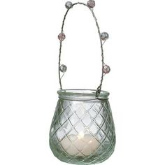 Clear Hanging Vintage Glass Tealight Holder & Vase (diamond cut design).  Glass dimensions: 2 inches x 2.75 inches high. Glass with beaded handles. Can be hung or placed on flat surface. Perfect for weddings! For use with tea light candles, battery lights or flowers.
