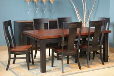 This Amish-handcrafted solid hardwood table is available in a variety of wood species and finishes. Hardwood Table, Hardwood Furniture, Amish Furniture, Wicker Furniture, Dining Room Furniture, Dining Room Table, Dining Chairs, Modern Dining Table, Luxury Apartments