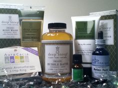 Stress Less Gift Basket - $60.00, Wash away stress with Deep Steep's refreshing Rosemary-Mint Body Wash, Bubble Bath, and Body Butter, which are all-natural and organic body products.  http://www.mindfulhealth.biz/store/index.php?main_page=product_info_id=222