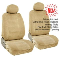 BDK Rome Flat Cloth Solid Grey Front Pair Of Bucket Seat Covers Gray
