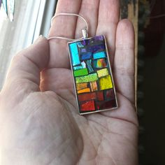 Rainbow Connection Rectangular Pendant with Silver Bezel Rainbow Connection, Local Hardware Store, Address Plaque, Color Names, Color Theory, Mosaic Glass, Pendants, Personalized Items, Unique Jewelry