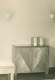 Jean-Michel Frank 1941 cabinet of straw marquetry and sycamore, designed for Helen Stanley Resor