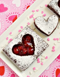 How To Make Heart Shaped Brownies With Cherry Filling. Delicious and so simple to make! Great dessert or treat for class parties, family gatherings and Valentine's Day! White Chocolate Bark, Chocolate Spoons, Chocolate Desserts, Tray Bake Recipes, Brownie Recipes, Red Velvet Cheesecake Brownies, Valentines Day Desserts, Valentine Treats, Cake Tasting