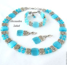 "Complete sets of handmade jewelry.  Fair Masters - handmade.  Buy Package ""Blue Silk -2"" / ""Blue Silk-2"": a necklace, bracelet, earring-3300.  Handmade."