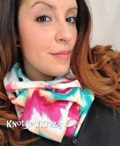 Cotton Infinity Scarf  Chevron Zig Zag Rainbow by KnotSewKrazy, $17.99