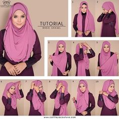 Hijabs with ruffles always look gorgeous whatever the style you try with them, this one is the an easy, beautiful and practical one, it covers the chest area, it's well secured and still has the flowing effect everywhere. If you… Hijab Tutorials Square Hijab Tutorial, Simple Hijab Tutorial, Hijab Simple, Hijab Style Tutorial, Muslim Dress, Hijab Dress, Hijab Outfit, Hijab Niqab, Mode Hijab