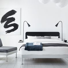 A black headboard and two matching side tables can be easily removed from the Delaktig bed frame to create a whole new look in minutes. Photo 2 of 4 in Tom Dixon's Latest IKEA Collaboration Is a Hackable Bed. Rattan Headboard, Black Headboard, Headboards, Ikea New, Ikea Hackers, Home Bedroom, Master Bedrooms, Dream Bedroom, Bedroom Desk