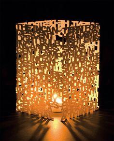 Typophiles and light lovers rejoice! // Typo Paper Lamp Project by László Sándor // http://www.artatheart.co.uk/artatheart/2010/11/typo-paper-lamp-project-by-l%C3%A1szl%C3%B3-s%C3%A1ndor.html