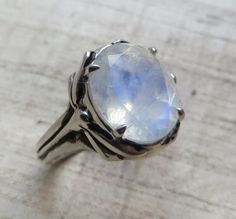 Faceted Rainbow Moonstone and Sterling by LuraJewelry on Etsy, $255.00