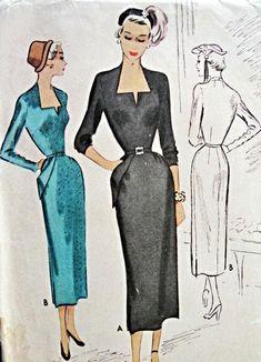 1940s Stunning Slim Day or Cocktail Dress Pattern McCall 7880 Vintage Sewing Pattern Unique Keyhole Neckline Slim Skirt With Pocket Film Noir Design Bust 32