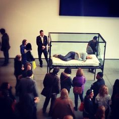 (I attended to the first performance at the Serpentine Saatchi Gallery in London... ages ago!)     Tilda Swinton's Live Performance Art of Sleeping in a Box At MoMA
