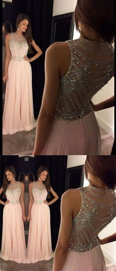 2016 prom dresses, long prom dresses, pink prom dresses, beaded back prom dresses