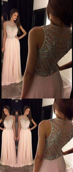 2016 prom dresses, long prom dresses, pink prom dresses, beaded back prom dresses