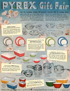 Pyrex Gift Fair Dinnerware Ovenware Flameware Sets 1954