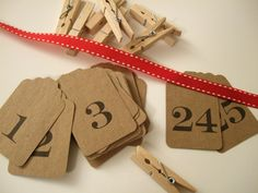Clothespin advent calendar to hang as garland on mantle or stairs.