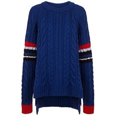 Preen Line - Ginny knit sweater (33,610 MKD) ❤ liked on Polyvore featuring tops, sweaters, layered tops, oversized tops, knit tops, blue knit top and layered sweater