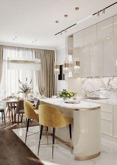 Luxury Interior, Modern Interior, Home Interior Design, Apartment Interior, Kitchen Interior, Kitchen Design, Dream Home Design, House Design, Kitchen Island Decor