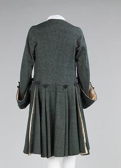 Suit Most likely a merchant or professional day  wear Date: 1755–65 Culture: British Medium: wool, silk Dimensions: Length at CB (a): 42 in. (106.7 cm) Length at CB (b): 29 1/2 in. (74.9 cm)
