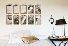 3 ideas #lowcost para una pared con clipboards!