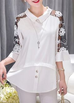 Solid Black Lace Panel Half Sleeve Blouse on sale only US$29.69 now, buy cheap Solid Black Lace Panel Half Sleeve Blouse at liligal.com