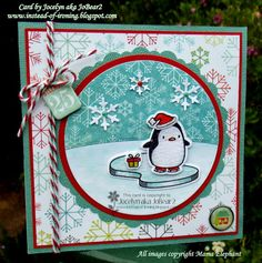 Mama Elephant Arctic Penguin Christmas card