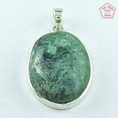 GREEN NATURAL TURQUOISE STONE 925 STERLING SILVER PENDANT PN3639 _ SILVEX Co #SilvexImagesIndiaPvtLtd #Pendant