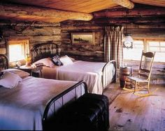 Contemporary Decorating ideas log cabin  | love this room with the log walls and ceilings. It is simply ...