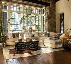 Love the combo of the rock and cream walls and floor
