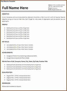 Basic Resume Templates Delectable Basic Resume Template Pdf  Httpwwwresumecareerbasicres