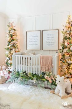 Baby Nursery Christmas Trees Flanking the Crib with nursery artwork hung about the crib. Love the Christmas decor in the nursery including colorful Christmas ornaments green Christmas trees green garland and gender neutral nursery art. Nursery Artwork, Nursery Themes, Nursery Room, Girl Nursery, Nursery Decor, Themed Nursery, Elephant Nursery, Nursery Ideas, Christmas Bedroom