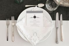 Black & white tablescape. Menu included. Credits: Photo by Turner Creative Photography. Menu printed by All Along Press via Style Me Pretty   Original post: 'Day-of Wedding Stationery Inspiration: Black & White Stripes' http://ohsobeautifulpaper.com/2012/08/wedding-stationery-inspiration-black-white-stripes/
