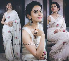 rakul_preet_singh_white_mirror_work_purvidoshi_saree_sakshi_awards.jpg (874×768)