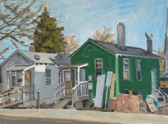 """Green House, 12/21/14. Oil on board, 12 x 16""""."""