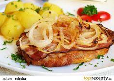 Vepřový řízek naruby recept - TopRecepty.cz Czech Recipes, Ethnic Recipes, Cabbage, Spaghetti, Meat, Vegetables, Cooking, Oriental Recipes, Food And Drinks