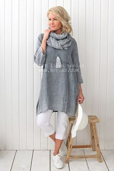 HAPPY Linen Tunic, GREY - BOHEMIANA - BYPIAS