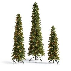 Our magnificent Down-swept Slim Pine Christmas Tree is such a space-saving wonder, 3 trees approximate the footprint of just a single standard-sized tree.    The extra slender design is expressly made for bringing full-sized Christmas tree majesty to challenging spaces, like dining rooms, foyers, or halls ---    any place a traditional tree won fit.            Christmas tree with down-swept branches and an extra slim design                Angled branches create added drama and accentuate ...