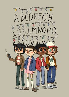 """A fan art of my children! ♡ (Dustin is probably the cutest kid in the universe) - Stranger Things art - Mike Wheeler, Eleven, Lucas Sinclair, Dustin Henderson"