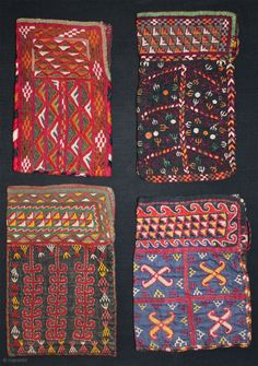 Turkmen Chodor small bags from Afghanistan. Both sides silk embroidery on cotton. All in good condition. Early 20th. century. Sizes from left to right: 12cm x 20cm - 12cm x 22cm -  ...