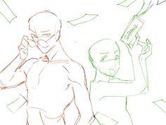 #트레틀 - Twitter Search / Twitter Drawing Body Poses, Body Reference Drawing, Drawing Reference Poses, Male Pose Reference, Manga Poses, Sketch Poses, Anime Drawings Sketches, Funny Drawings, Drawing Templates