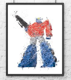 Transformers Watercolor Movie poster Watercolor by gingerkidsart
