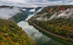 Hawks Nest overlook in W V  on a rainy early autumn afternoon.  Randall Sanger Photography