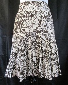 Apartment-9-Skirt-Size-8-Fit-And-Flare-A-Line-Floral-Brown-White-Boho-Crinkle