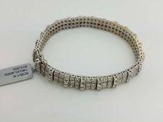 18K White Gold Three Row 4-prong Round Diamond Tennis Bracelet 5.80ct
