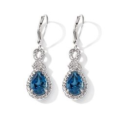 "Colleen Lopez ""Blue Heaven"" Blue & White Topaz Earrings"