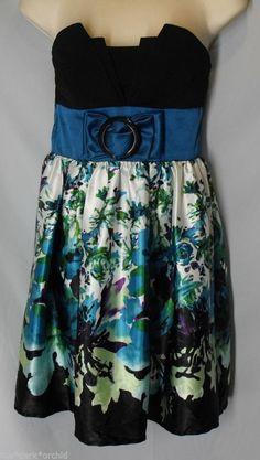 TRIXXI size S Small Pintucked Bodice Floral Satin Black Teal Dress Strapless #Trixxi #EmpireWaist