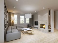 House in Augustów on Behance Fireplace Tile Surround, Home Fireplace, Modern Fireplace, Living Room With Fireplace, Fireplace Surrounds, Fireplace Design, Living Room Tv Unit, Living Room Interior, Home Living Room