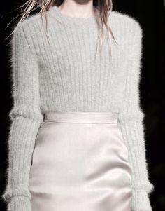 Pale grey sweater & silk pencil skirt; fashion details // Francesco Scognamiglio Fall 2015