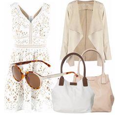 d7c6e83922 Abito in bianco lavorato con giacca morbida in sabbia, occhiale sui toni di  questo outfit